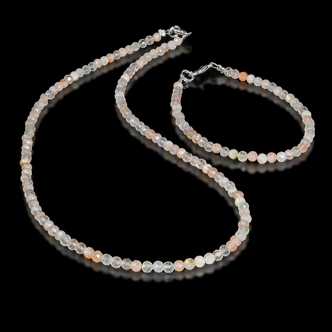 Комплект браслет и бусы из солнечного камня, Ø4 мм., 096КМС