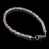 Комплект браслет и бусы из солнечного камня, Ø4 мм., 096КМС, фото 3