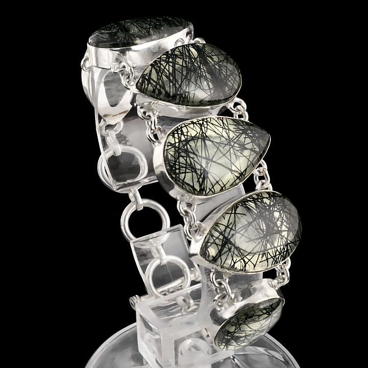 Кварц рутиловый волосатик (искусственный), браслет, 212БРР