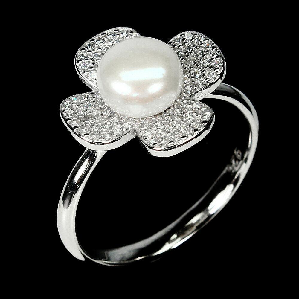 Серебряное кольцо с жемчугом, Ø7,5 мм., 1437КЖ