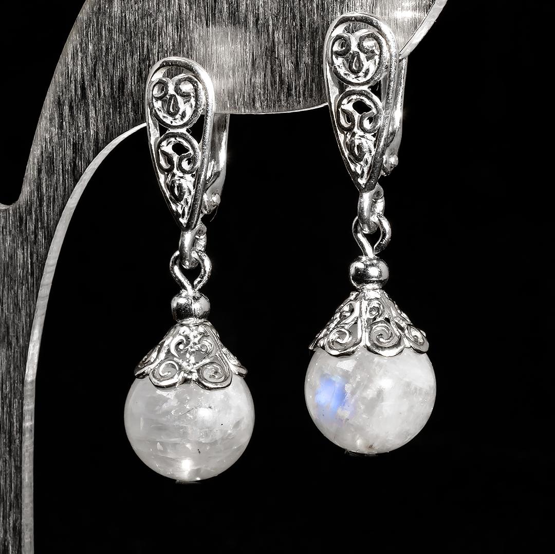 Серебряные серьги с лунным камнем Адуляр, Ø10 мм., 513СРА