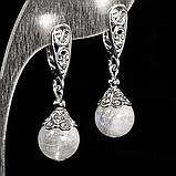 Серебряные серьги с лунным камнем Адуляр, Ø10 мм., 513СРА, фото 2