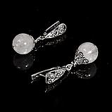 Серебряные серьги с лунным камнем Адуляр, Ø10 мм., 513СРА, фото 3