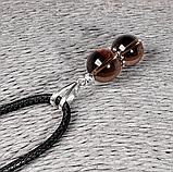 Кулон с раухтопазом дымчатым кварцем, серебро, Ø10 мм., 1210КЛР, фото 3