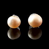 Жемчуг персиковый, Ø5-6 мм., пуссеты (серьги-гвоздики), 305СРЖ, фото 2