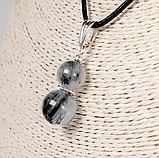 Кулон с волосатиком турмалиновым кварцем, серебро, Ø10 и Ø12 мм., 1218КЛВ, фото 2