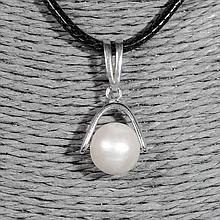 Серебряный кулон с жемчугом, Ø10 мм., 1245КЛЖ