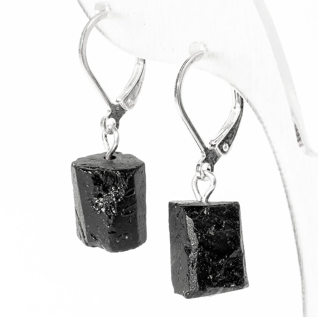 Серебряные серьги с шерлом черным турмалином, 509СРШ