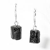 Серебряные серьги с шерлом черным турмалином, 509СРШ, фото 2