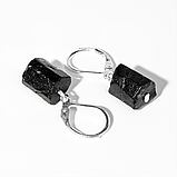 Серебряные серьги с шерлом черным турмалином, 509СРШ, фото 3