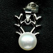 Серебряный кулон с жемчугом, Ø8,4 мм., 1367КЛЖ