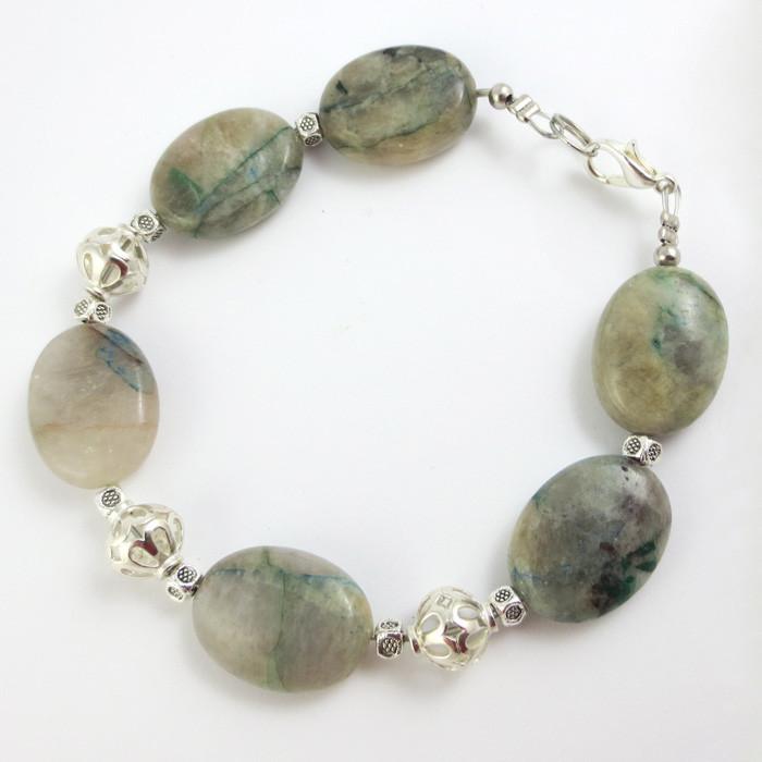 Хризоколла Аризонская, серебро, браслет