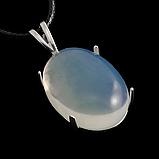 Місячний камінь молочний, срібло 925, кільце, кулон комплект, фото 4