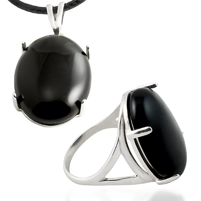 Агат черный, серебро 925, кольцо и кулон комплект