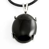 Агат черный, серебро 925, кольцо и кулон комплект, фото 3