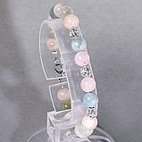 Бериллы аквамарин, изумруд и морганит, Ø8 мм., серебро, браслет, 531БРБ, фото 2
