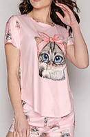 """Красивая женская пижама с шортами и футболкой """"Кошка"""" размеры С, М, Л. Женская пижама на подарок"""