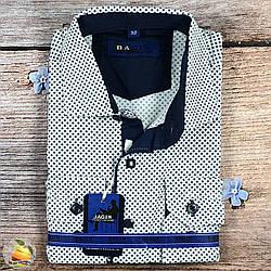 Біла сорочка з візерунком для хлопчика, шкільний вік Воріт: від 28 по 36 (20524)