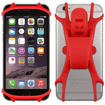 """Держатель для смартфона на велосипед силиконовый BC-B711 4""""-5,5"""" Красный (HFS-002)"""