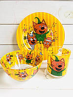 """Набор посуды для детей «Три Кота"""" 3-х предметный. (Тарелка 195 мм, пиала 320 мл, чашка 250 мл)."""
