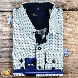 Світла сорочка, квадрат+ коло, для хлопчика в школу Розміри: від 8 до 16 років (Воріт 28 - 36) (20530)