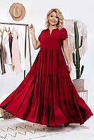 Летнее длинное свободное платье цвета марсала большого размера (L/XL, XL/XXL)