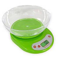 Весы кухонные до 5 кг с чашкой ELECTRONIC КITCHEN EK-01 зеленый