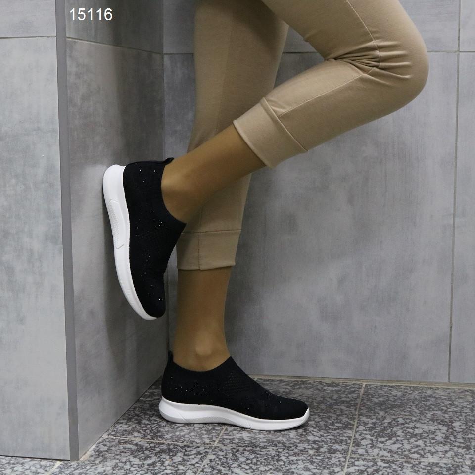 Кроссовки 38 размер  женские черные текстильные А15116