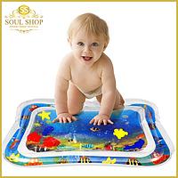 Детский развивающий игровой надувной водный коврик с водой и рыбками для детей