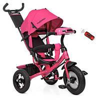 Детский трёхколесный велосипед-коляска для девочек СО СВЕТОМ И МУЗЫКОЙ. Цвет розовый.