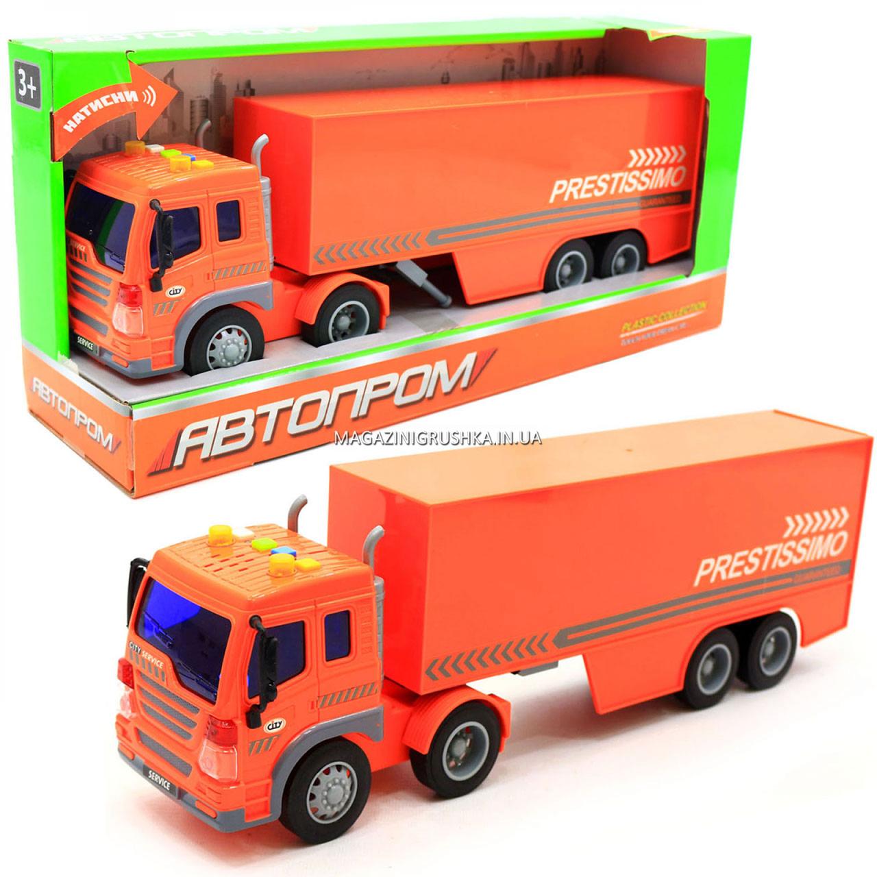 Машинка игровая Автопром «Трейлер» оранжевый со световыми и звуковыми эффектами, 39 см (7921AB)