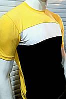 Футболка Мужская Трехцветная Желтая Черная