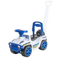 Детский автомобиль каталка-толокар с родительской ручкой белый-синий