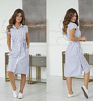 Женское летнее полосатое с льна платье рубашка с поясом в полоска синяя белая лен 44 46 48 50 52
