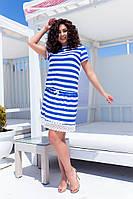 Женское стильное платье в полоску Батал, фото 1