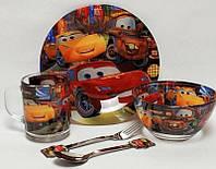 """Набор посуды для детей «Тачки"""" 3-х предметный. (Тарелка 195 мм, пиала 320 мл, чашка 250 мл)."""