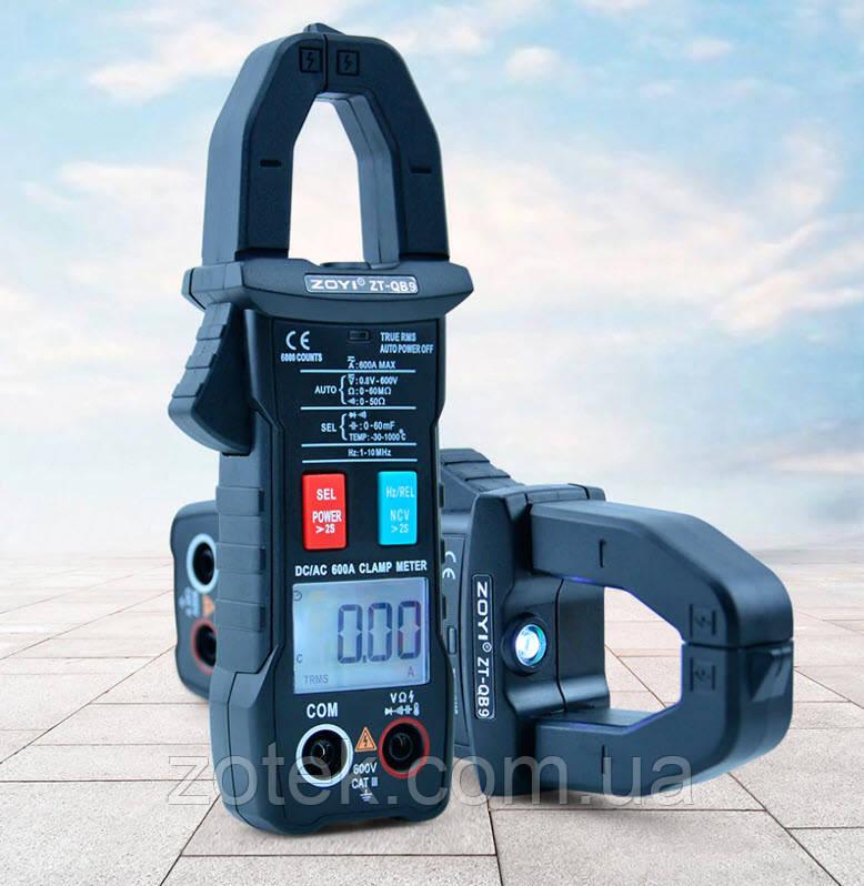 ZOYI ZT-QB9, 600A AC/DC, токоизмерительные клещи переменный постоянный ток, мультиметр True RMS NCV