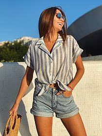 Укороченная женская рубашка в полоску из льна 13-306