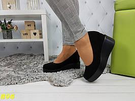 Туфли замшевые на высокой платформе с танкеткой