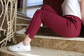 LEX №34 Штани жіночі з високою талією 46-58 бордові/ бордового кольору/ бордовий