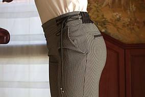 LEX №27 Брюки женские в мелкую клеточку со шнуровкой сбоку 44-56 серые/серого цвета/ серый