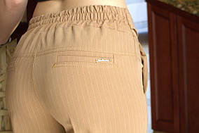 LEX №19 Штани літні в смужку на резинці 46-56 бежеві/ бежевого кольору/ бежевий/ беж