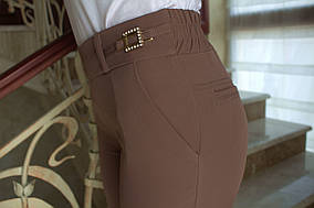 LEX №11 Штани жіночі з пряжкою 44-56 коричневі/ коричневого кольору/ коричневий/ кава з молоком