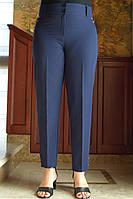 LEX №61 Штани жіночі з високою талією батал 50-62 сині/ синього кольору/ синій/ темно-синій