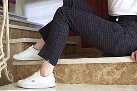 LEX №18 Літні жіночі штани в клітку на резинці р. р 44-58 чорні/ чорного кольору/ чорний