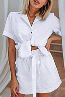 Костюм з льону білого кольору, шорти на підкладці