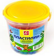 Пластилин Луч в ведерке, 11 ярких сочных цветов +6 формочек, 12C 784-08 312г (Оригинал)