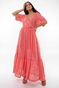 Шифоновое летнее длинное расклешенное платье с резинкой на талии (Барбара ri)