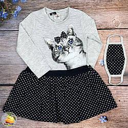 Платье с котёнком+ маска Размеры: 2,3,4,5 лет (20549-1)