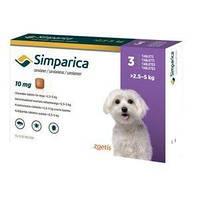 Симпарика таблетки от блох и клещей для собак 2,5-5кг